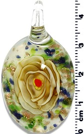 Glass Oval Flower Pendant Yellow Green PD1368