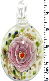 Glass Oval Flower Pendant Pink Green PD1369