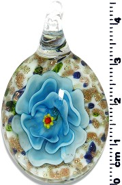Glass Oval Flower Pendant Sky Blue PD1371