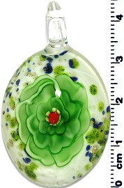 Glass Oval Flower Pendant Green PD1373