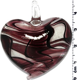 Glass Heart Pendant Purple PD1375