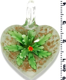 Glass Heart Pendant Green PD1381