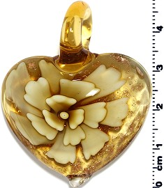 Glass Heart Pendant Yellow PD1392