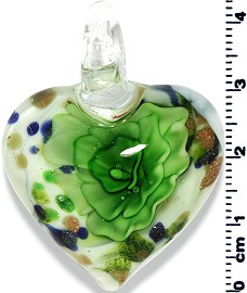 Glass Heart Pendant Green PD1394