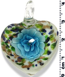 Glass Heart Pendant Green Sky Blue PD1397