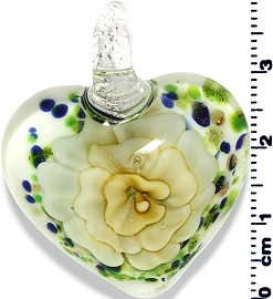 Glass Heart Pendant Green Yellow PD1398