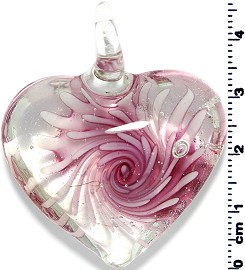 Glass Heart Pendant Pink PD1403