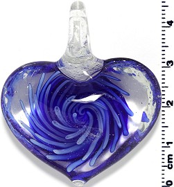 Glass Heart Pendant Royal Blue PD1405