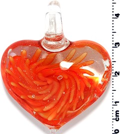 Glass Heart Pendant Orange PD1406