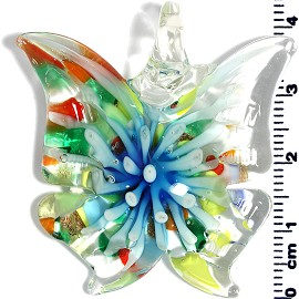 Glass Butterfly Pendant Sky blue Multi PD1449