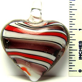 Brown Red Stripe Heart Glass Pendant PD1456