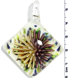 Glass Rhombus Pendant Yellow Purple PD1460
