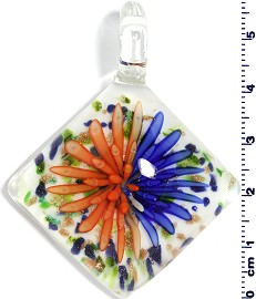 Glass Rhombus Pendant Orange Royal Blue PD1461