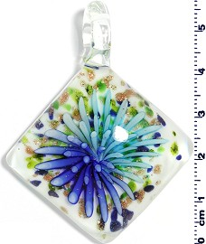 Glass Rhombus Pendant Turquoise Royal Blue PD1462