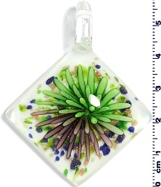 Glass Rhombus Pendant Green Purple PD1463