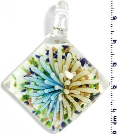 Glass Rhombus Pendant Yellow Turquoise PD1465