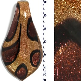 Glass Leaf Pendant Gold Brown Black PD1483