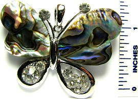 Green Butterfly Top Silver Abalone Crystals Pendant PD1611