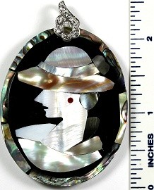 Abalone Pendant Thick Oval Lady Hat Looking Left PD1629