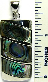 Abalone Pendant Rectangle Green Silver PD1865