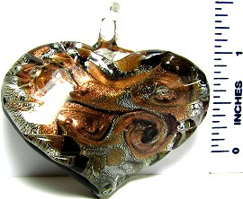 Black Silver Gold Flakes Twisted Heart Glass Pendant PD191