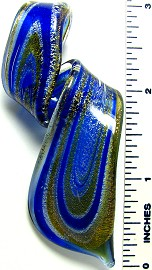 Blue Gold Twisted Loop Leaf Glass Pendant PD1949
