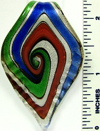 Green Blue Red Leaf Glass Pendant PD2464
