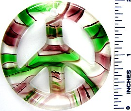 Green Purple White Peace Sign Glass Pendant PD2801