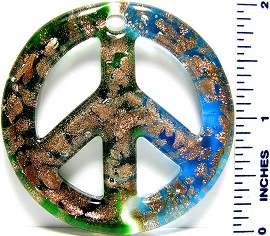 Glass Pendant Peace Sign Green Sky Blue PD2996