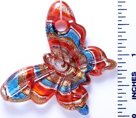 Glass Pendant Butterfly Red Blue PD3000