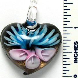 Glass Pendant Heart Flower Gold Aqua Purple PD3223