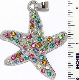 Rhinestone Pendant Starfish Silver Multi Color PD3369