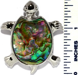 Abalone Pendant Turtle Silver Green PD3396
