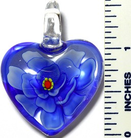 Glass Pendant Flower Heart Clear Blue PD3409