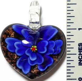 Glass Pendant Flower Heart Black Blue PD3413