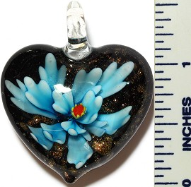 Glass Pendant Flower Heart Black Sky Blue PD3414