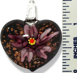 Glass Pendant Flower Heart Black Purple PD3415