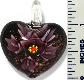 Glass Pendant Flower Heart Black Purple PD3416