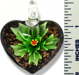 Glass Pendant Flower Heart Black Green PD3417