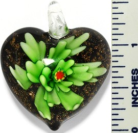 Glass Pendant Flower Heart Black Green PD3418