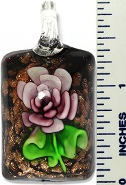 Glass Pendant Flower Rectangle Black Green Purple PD3419
