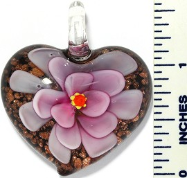 Glass Pendant Flower Heart Black Pink PD3420
