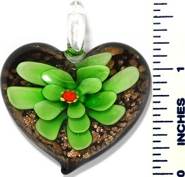 Glass Pendant Flower Heart Black Green PD3422