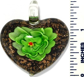 Glass Pendant Flower Heart Black Green PD3423