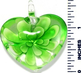 Glass Pendant Flower Heart Clear Green PD3491