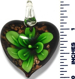 Glass Pendant Flower Heart Black Green PD3492