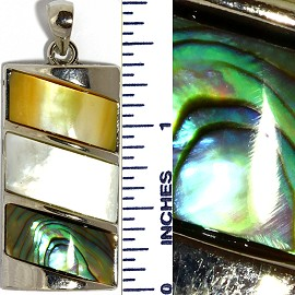 Abalone Pendant Rectangle Silver Green White Tan PD3509