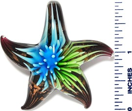 Glass Pendant Starfish Flower Black Gold Green Sky Blue PD3514