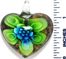 Glass Pendant Heart Flower Black Gold Green Sky Blue PD3522