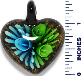 Glass Pendant Heart Flower Black Gold Green Sky Blue PD3525